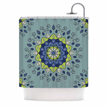 "Cristina bianco Design ""Blue & Green Mandala"" Blue Geometric Shower Curtain"