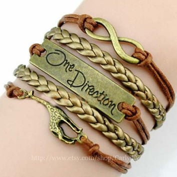 "Ancient bronze infinite ""one direction"" giraffe jewelry bracelet, brown wax rope bracelet"