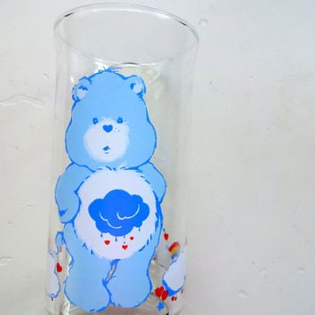 Vintage Grumpy Care Bear Drinking Glass 1983