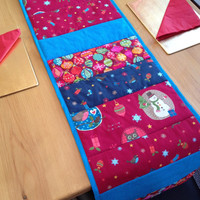 Xmas table runner, Christmas table runner, Christmas decoration, xmas table decoration, pink, blue, xmas table decal
