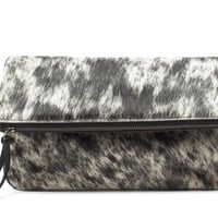 Salt + Pepper Foldover Cowhide Clutch