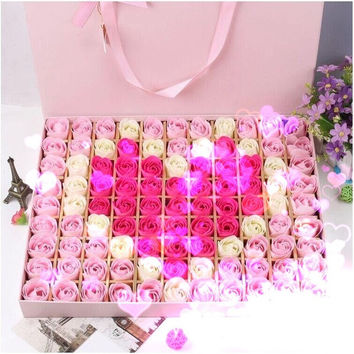 Handcrafted Rose Flower Soap DIY craft (Wedding party gift /Favors birthday/Valentine's Day gift 100/pcs) = 1931832708