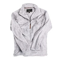 1/2 Zip Luxe Fleece Stripe Pullover in Grey and White by True Grit - FINAL SALE