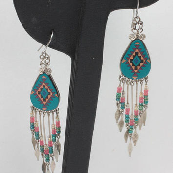 Southwestern Design Dangle Earrings Beaded Drops French Hooks Festival Boho
