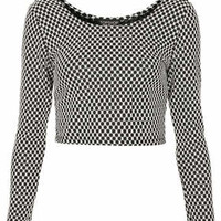 MONO GINGHAM 1/2 SLEEVE CROP TOP