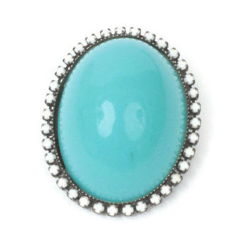 Domed Turquoise Lucite Brooch White Milk Glass Bead Accents Vintage Larger