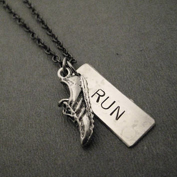 RUN RUNNER Large Pendant Necklace - Shoe plus Large 3/8 x 1 inch RUN Hand Hammered Nickel Silver Pendant on Gunmetal Chain