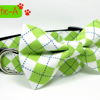 Argyle Lime and White Dog Collars with bow tie set  (Mini,X-Small,Small,Medium ,Large or X-Large Size)- Adjustable