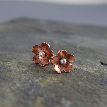 Cherry Blossom Post Earrings by Hapagirls on Etsy