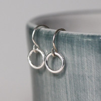 VALENTINE'S DAY, Silver Ring Earrings, Tiny Circle Silver Earrings Short Dangle Minimal Everyday Jewelry