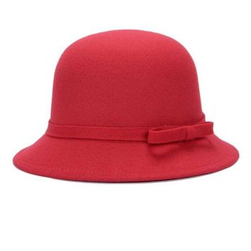 LMF78W Fashion Solid Women fedora hat Vintage Wool Bow knot Winter Warm Caps Casual Elegant Ladies Party Beach Sun hat chapeau femme Y2