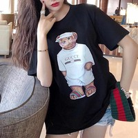 """Gucci"" Women Loose Casual Cute Cartoon Strong Bear Pattern Print Short Sleeve T-shirt Top Tee"