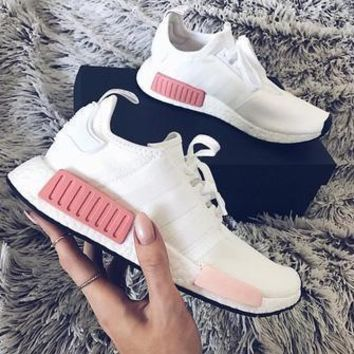Adidas NMD Fashion Sneakers Trending Running Sports Shoes White-pink-3