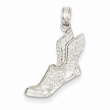 14k White Gold Running Shoe with Wings Pendant