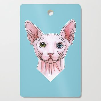 Sphynx cat portrait Cutting Board by savousepate