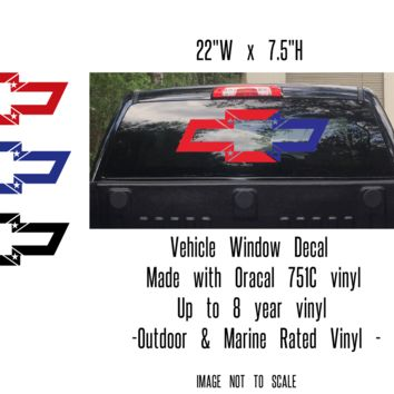 """Chevy Bowtie """"Flag"""" Vehicle Window or Tailgate Decal 22""""W x 7.5""""H"""