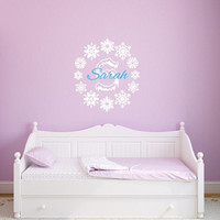 Snowflakes Frozen Monogram with Name Nursery Vinyl Wall Decal 22387
