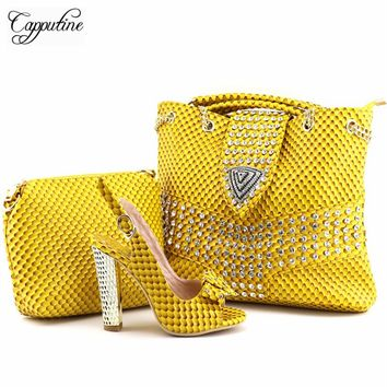 Capputine New Arrival PU Leather Woman Shoes And HandBag Set African Style High Heels Shoes And Bag Set For Party Size 38-42
