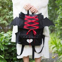 Japanese Harajuku Ribbon Bat Heart Backpack SD01013