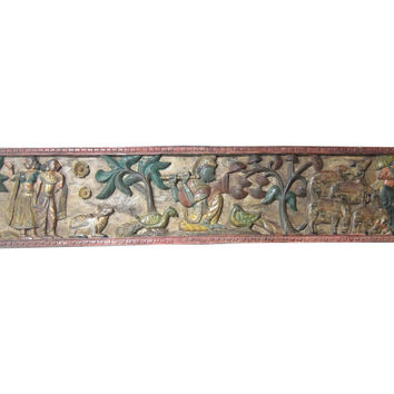Indian Antique Headboard Hand Carved Wall Panel Krishna Headboard Panels