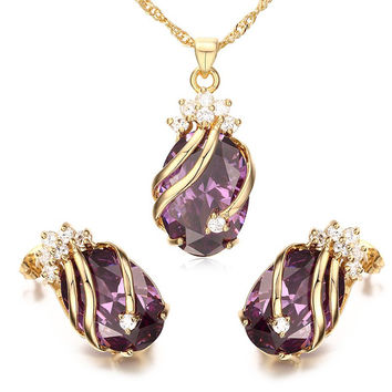 Purple Wrapped Rhinestone Necklace and Earrings