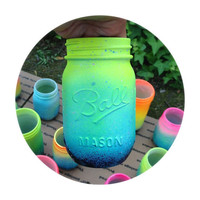 Neon Ombre Galaxy Mason Jar  Hand Painted  Super by LimbTrim