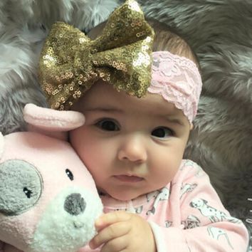 Chic Bow with Lace Headband Big Bow Lace Headband Newborn Girl Headband Kids Sequin Headwear Hair Accessories 1 PC