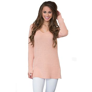 Chicloth Pink Never Look Back Lace Up Sweater