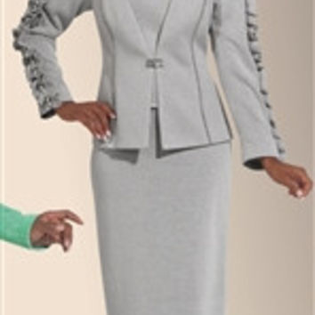 Donna Vinci Knits 2976 Pearl Accented Ruffle Trim 2pc Suit