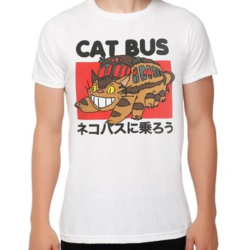Men Brand Clothihng Top Quality Fashion Mens T Shirt 100%cotton Studio Ghibli My Neighbor Totoro Catbus T-shirt