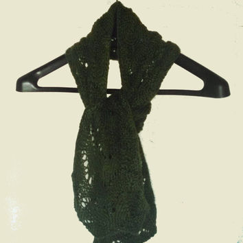 Hand Knit Lace Scarf, Green Lace Scarf, Womens Lace Scarf