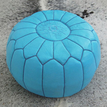 Set of 2 Moroccan leather Pouf Ottoman Poof Pouffe pouffes hassock Footstool blue