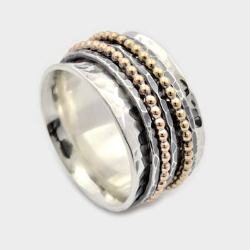 Five Band Spinner Ring, Silver and Gold Spinner Ring, Wide Spinner Ring, Meditation Ring, Worry Ring, Silver Fidget Ring, spinner band ring