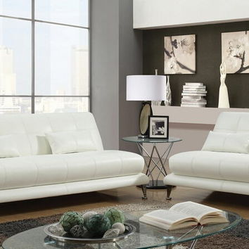 Furniture of america CM6413WH 2 pc Sherri white leatherette armless sofa and love seat set