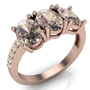 Francesca Classic 7x5mm Oval Natural Morganite 3 Stone Ring Diamonds - 14k or 18k Rose Gold