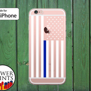 Thin Blue Line American Flag Police Pride Stars Clear Rubber Phone Case for iPhone 5/5s and 5c and iPhone 6 and 6 Plus + and iPhone 6s
