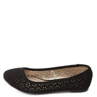 Laser Cut-Out Ballet Flats by Charlotte Russe - Black