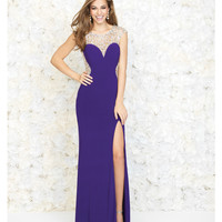 Purple Deep Sweetheart Jeweled Cut Out Gown
