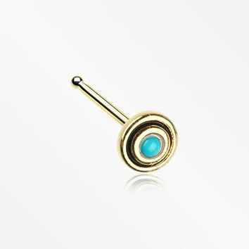 Golden Tribal Circle Turquoise Nose Stud Ring