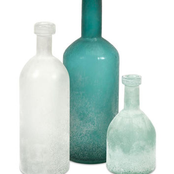 Coast Chic - Set of Three Aqua, Soft Blue & White Handblown Frosted Glass Bottles | Free Shipping