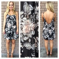 Black Floral Scoop Back Dress