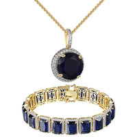 """14k Gold Plated Blue Solitaire Ruby CZ Bracelet Pendant Mens 24"""" Chain Iced Out"""