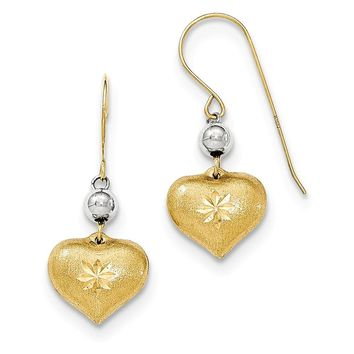 14K Two Tone Satin Puff Heart Diamond Cut Drop Earrings