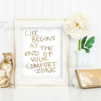 COMFORT ZONE  GOLD Digital Print Home Feminist Wall Decor Typography Beauty Art Typographic Expressive Motivational Wall Decor Wedding