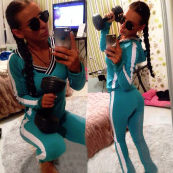 Lake blue Yoga pants Track Suit Long Pants And V-neck Hoodie Sweatshirt Set