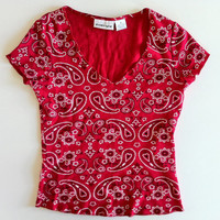 90's energie red paisley bandana slight crop top size small