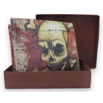 Handcrafted Graphic Brown Skull  Bifold Leather Wallet