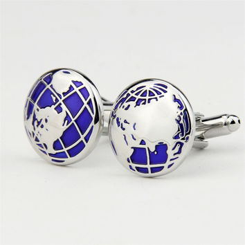 Fashion Personalized Global Map Shape Shirts Cuff Links for Men French Copper Cuff Link Gifts for Mens Suits Accessories Gemelos