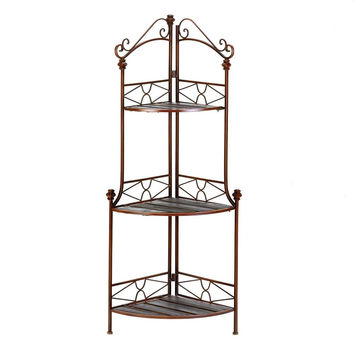 Flower Plant Stand-3 Pine Slat Shelves Beautiful Rustic Tall Corner Stand