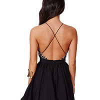 Amazing Sexy Halter Backless Lace Chiffon Mini Skater Party Dress